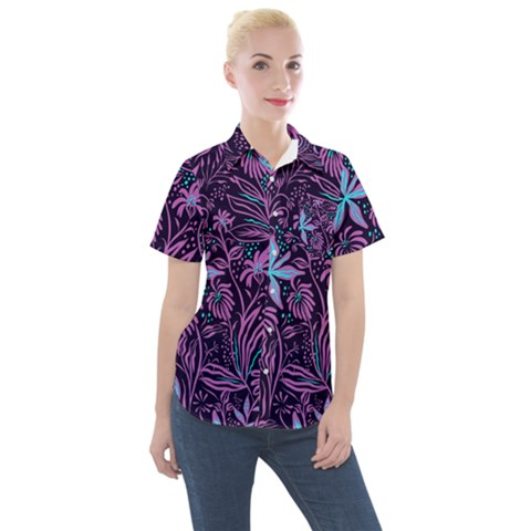 Garden Style Women s Short Sleeve Pocket Shirt by TimelessFashion