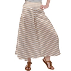 Grid In Brown Satin Palazzo Pants by TimelessFashion
