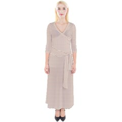 Grid In Brown Quarter Sleeve Wrap Maxi Dress