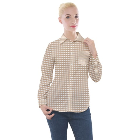 Grid In Brown Women s Long Sleeve Pocket Shirt by TimelessFashion