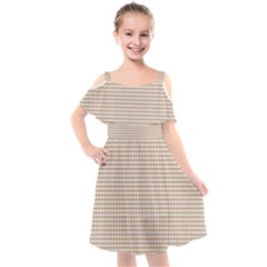 Grid In Brown Kids  Cut Out Shoulders Chiffon Dress by TimelessFashion