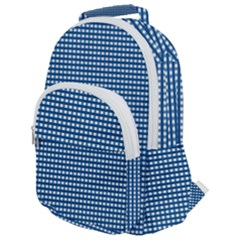 Grid In Blue Rounded Multi Pocket Backpack by TimelessFashion