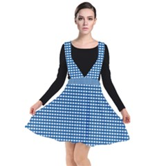 Grid In Blue Plunge Pinafore Dress by TimelessFashion