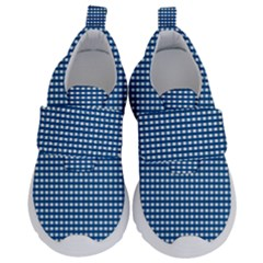 Grid In Blue Kids  Velcro No Lace Shoes by TimelessFashion