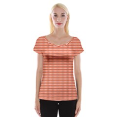 Grid In Orange Cap Sleeve Top by TimelessFashion
