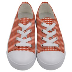 Grid In Orange Kids  Low Top Canvas Sneakers