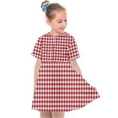 Grid In Red Kids  Sailor Dress