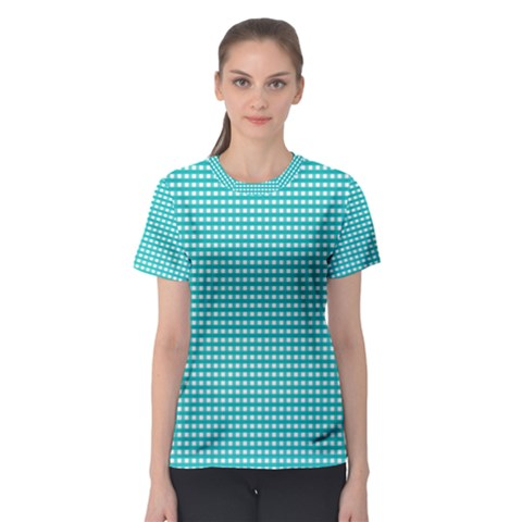 Grid In Turquoise Women s Sport Mesh Tee by TimelessFashion
