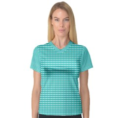 Grid In Turquoise V Neck Sport Mesh Tee by TimelessFashion