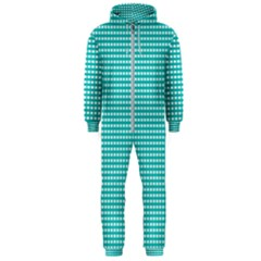 Grid In Turquoise Hooded Jumpsuit (men)  by TimelessFashion