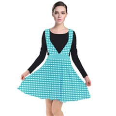 Grid In Turquoise Plunge Pinafore Dress by TimelessFashion