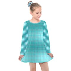 Grid In Turquoise Kids  Long Sleeve Dress by TimelessFashion
