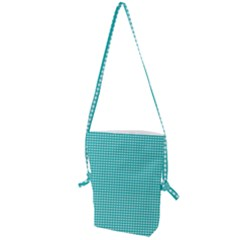 Grid In Turquoise Folding Shoulder Bag by TimelessFashion