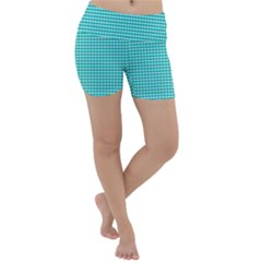 Grid In Turquoise Lightweight Velour Yoga Shorts by TimelessFashion