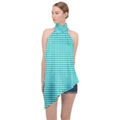 Grid In Turquoise Halter Asymmetric Satin Top by TimelessFashion
