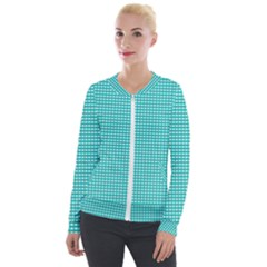 Grid In Turquoise Velour Zip Up Jacket by TimelessFashion