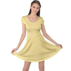Grid In Yellow Cap Sleeve Dress by TimelessFashion