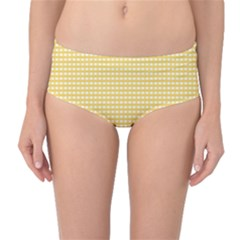 Grid In Yellow Mid Waist Bikini Bottoms by TimelessFashion