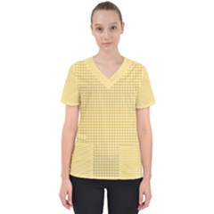 Grid In Yellow Women s V Neck Scrub Top by TimelessFashion