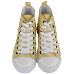 Grid In Yellow Women s Mid Top Canvas Sneakers