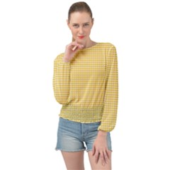 Grid In Yellow Banded Bottom Chiffon Top by TimelessFashion