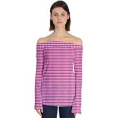 Grid In Pink Off Shoulder Long Sleeve Top by TimelessFashion