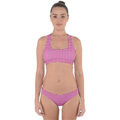 Grid In Pink Cross Back Hipster Bikini Set