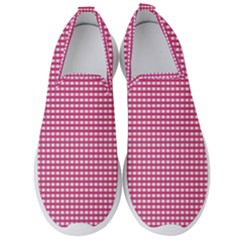 Grid In Pink Men s Slip On Sneakers by TimelessFashion