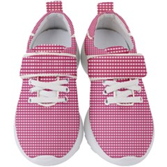 Grid In Pink Kids  Velcro Strap Shoes by TimelessFashion
