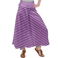 Grid In Purple Satin Palazzo Pants by TimelessFashion