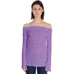 Grid In Purple Off Shoulder Long Sleeve Top by TimelessFashion
