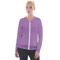 Grid In Purple Velour Zip Up Jacket by TimelessFashion