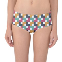 Retro Squares Mid Waist Bikini Bottoms by TimelessFashion