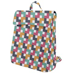 Retro Squares Flap Top Backpack by TimelessFashion