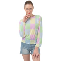Pastel Blocks Banded Bottom Chiffon Top by TimelessFashion