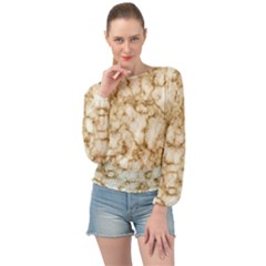 Marble Effect Banded Bottom Chiffon Top by TimelessFashion