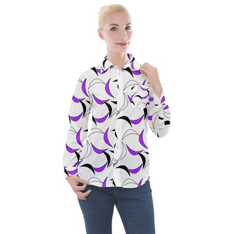 Simply Retro Purple Women s Long Sleeve Pocket Shirt by TimelessFashion