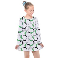 Simply Retro Green Kids  Long Sleeve Dress by TimelessFashion