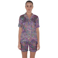 Triangle Chaos Satin Short Sleeve Pyjamas Set by TimelessFashion