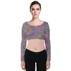 Triangle Chaos Velvet Long Sleeve Crop Top by TimelessFashion