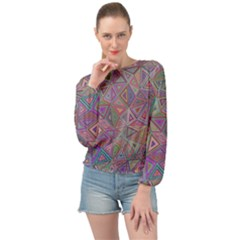 Triangle Chaos Banded Bottom Chiffon Top by TimelessFashion