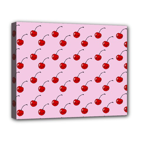 Kawaii Cherries Red Pattern Deluxe Canvas 20  X 16  (stretched)