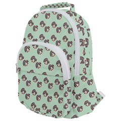 Kawaii Dougnut Green Pattern Rounded Multi Pocket Backpack