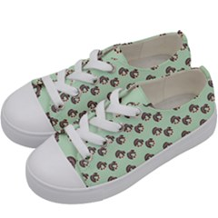 Kawaii Dougnut Green Pattern Kids  Low Top Canvas Sneakers by snowwhitegirl