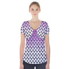 Forest Girl Gradient Purple Short Sleeve Front Detail Top
