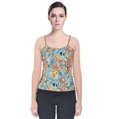 Flowers And Butterflies Pattern Velvet Spaghetti Strap Top