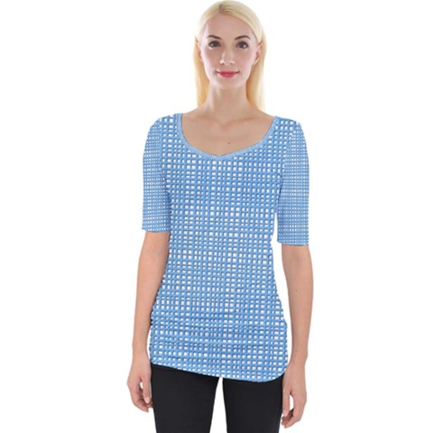 Light Blue Knitting Pattern Wide Neckline Tee by goljakoff
