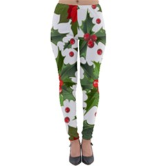 Red Berries Pattern Lightweight Velour Leggings by goljakoff