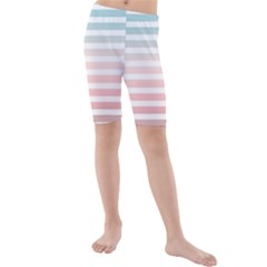 Horizontal Pinstripes In Soft Colors Kids  Mid Length Swim Shorts by shawlin
