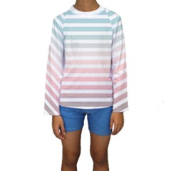 Horizontal Pinstripes In Soft Colors Kids  Long Sleeve Swimwear by shawlin